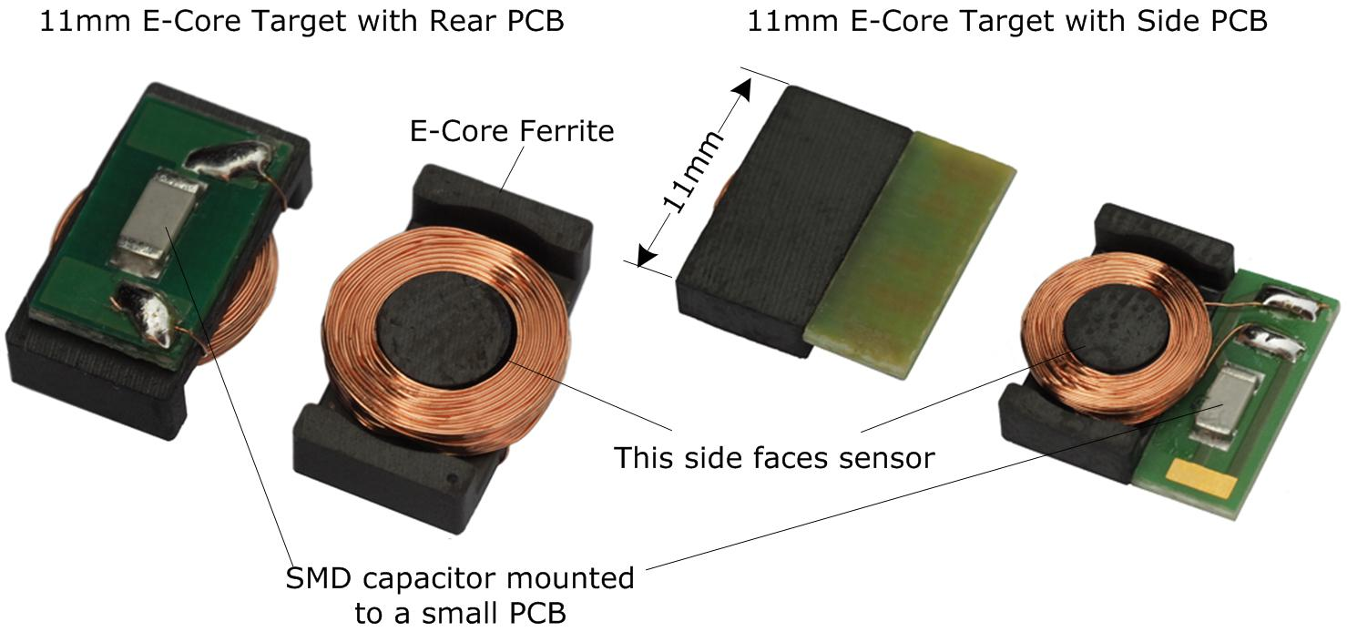 11mm E-Core Target Photos, including rear PCB and side PCB variants